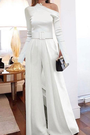 Sloping Shoulder Belted Jumpsuit