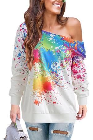 Sloping Shoulders Print Sweatshirt