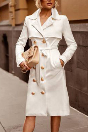 Solid Belt Long Coat