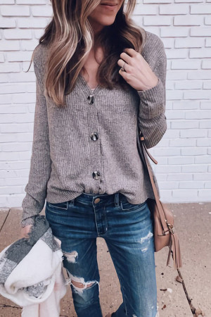 Solid Button-down Cardigan