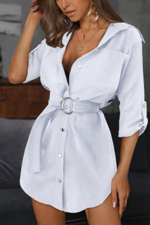 Solid Buttoned Shirt Dress