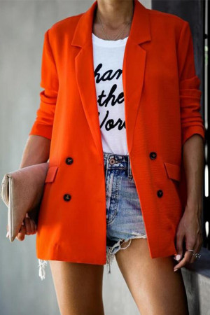 Solid Casual Button Lapel Blazer