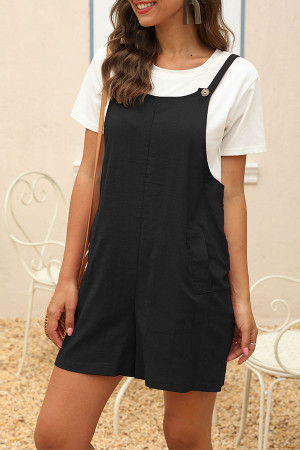 Solid Casual Pockets Romper