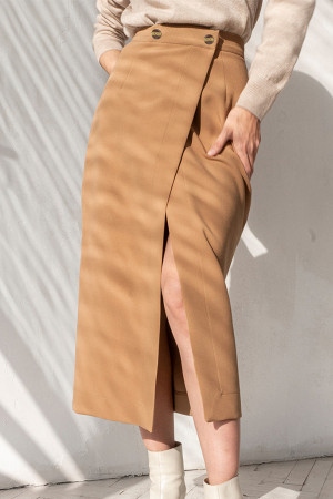 Solid Casual Split Skirt