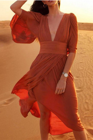 Solid Color Frilled Maxi Dress