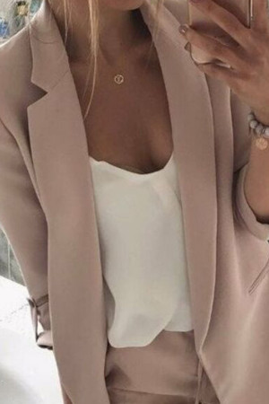 Solid Color Lapel Blazer