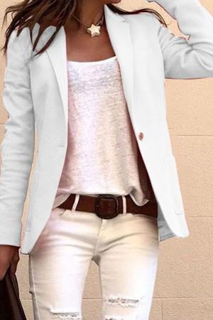 Solid Color Pockets Jacket