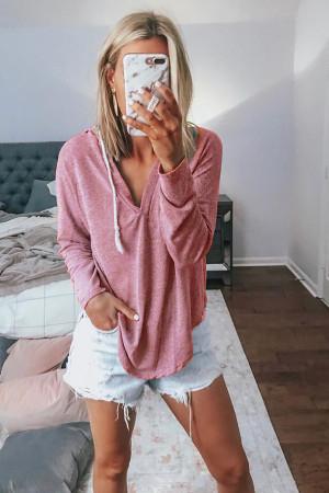 Solid Hooded Drawstring T-shirt