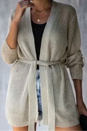 Solid Knit String Cardigan