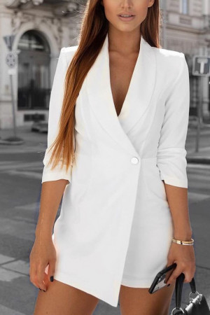 Solid One Button Romper