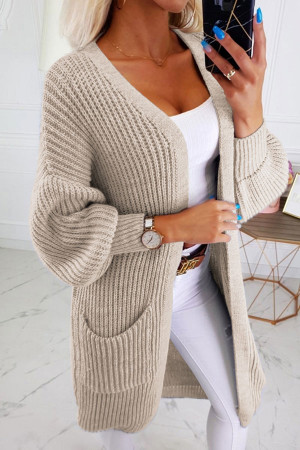 Solid Pockets Knit Cardigan
