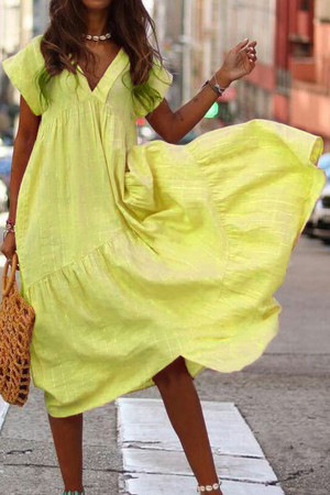Solid Ruffled V-neck Dress