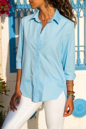 Solid Slit Buttons Blouse