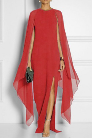 Solid Slit Long Chiffon Dress