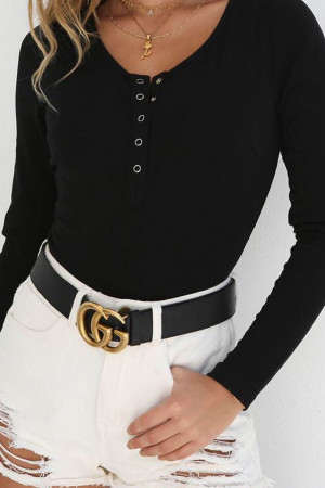 Solid Snap Button Blouse