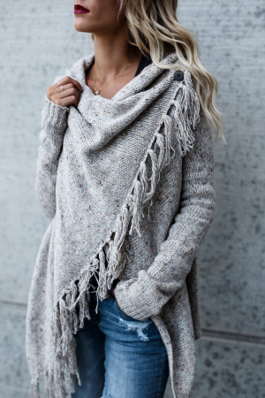 Solid Tassel Sweater Cardigan