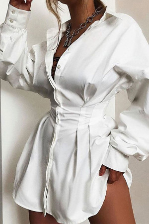 Solid Tight Waist Shirt Dress