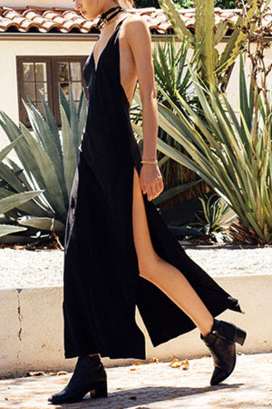 Solid V-Neck Backless Dress