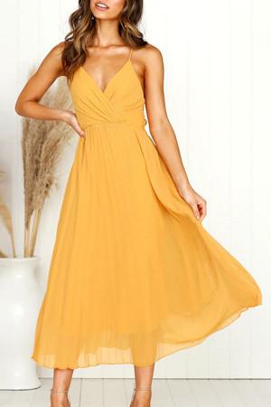 Solid V-Neck Spaghetti Straps Dress