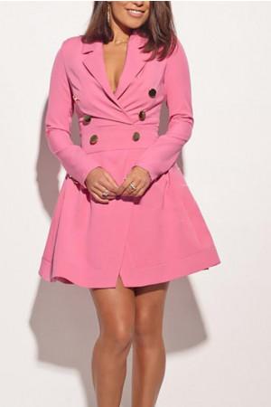 Solid Wrap Blazer Dress