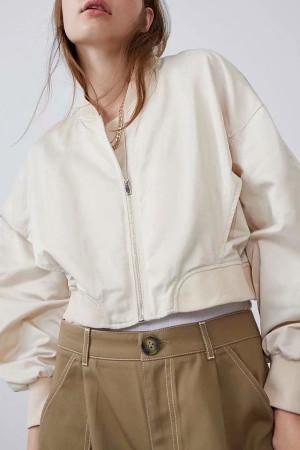 Solid Zipper Short Jacket