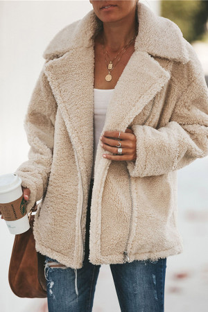 Solid Zipper Teddy Coat