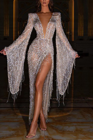 Sparkly Deep V-Neck Prom Dress