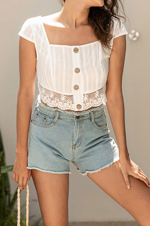 Square Neck Lace Crop Top