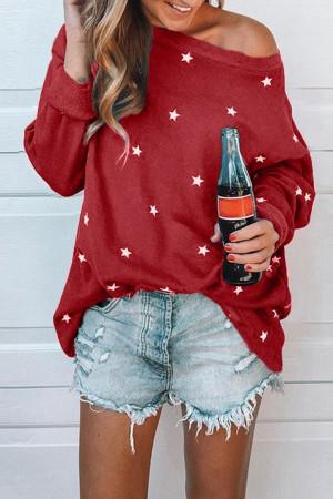 Star Print Casual Sweatshirt