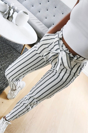 Striped Belted Straight Pants