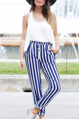 Striped Cinched Loose Pants