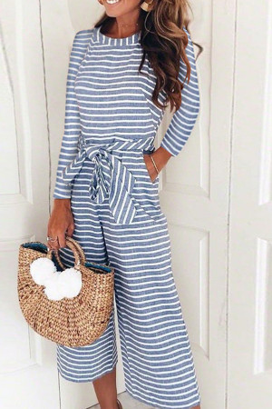 Striped Round Neck Jumpsuit