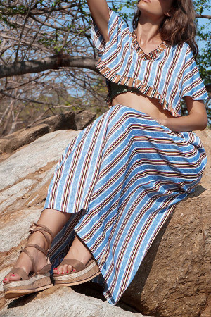 Striped Ruffles Two Piece Set