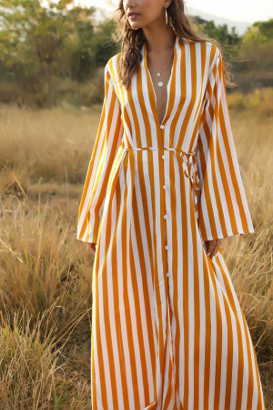 Striped Single Breasted Shirt Dress