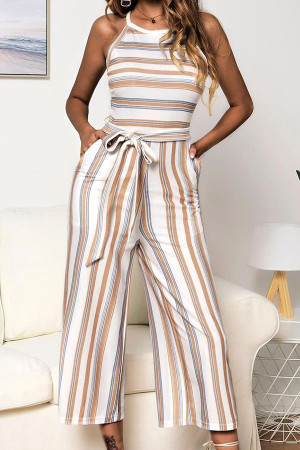 Striped Sleeveless Belt Jumpsuit