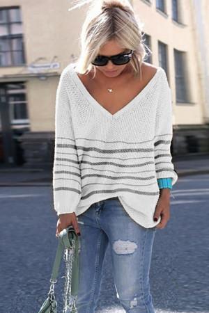 Striped V-neck Casual Sweater