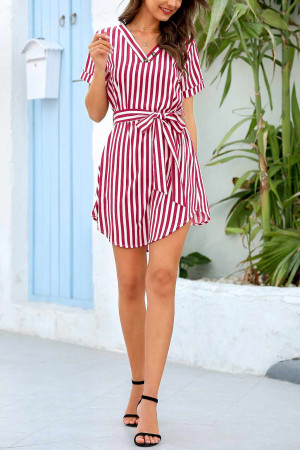 Striped V-Neck Wrap Dress