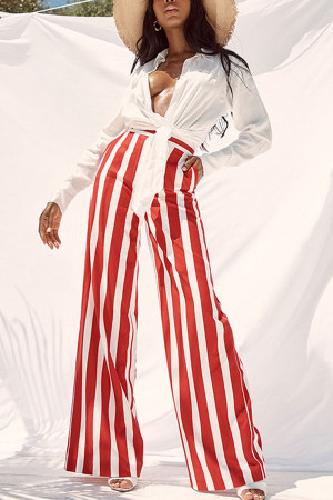 Striped Wide Leg Chiffon Pants