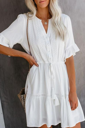 Tassel Ruffled Wrap Dress