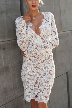 V-Neck Lace Hollow Dress