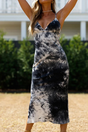Tie Dye Backless Slit Dress