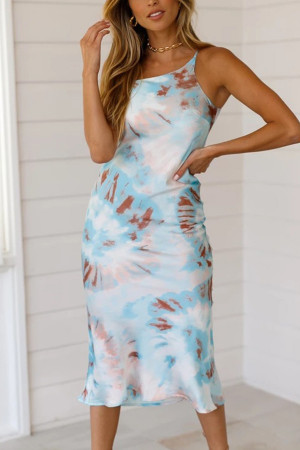 Tie Dye One Shoulder Midi Dress