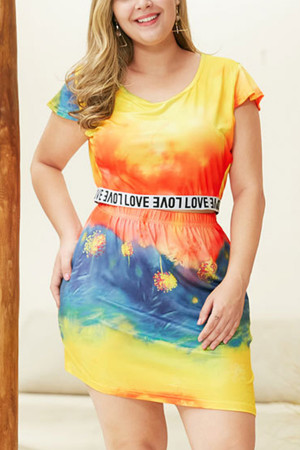 Tie Dye Plus Size Two-piece Set