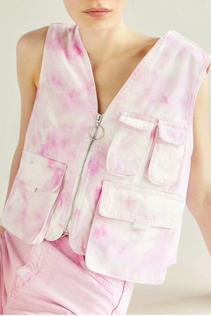 Tie Dye Sleeveless Denim Tank Top