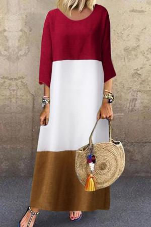 Tri-color Patched Maxi Dress
