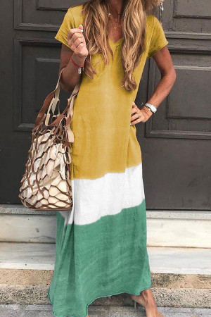 Tri-colored V-neck Maxi Dress