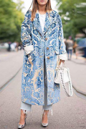 Turndown Collar Print Coat