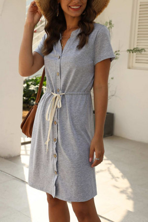 V-Neck Single Breasted Wrap Dress