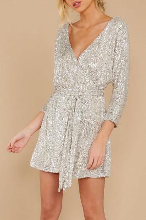 V-Neck Belted Sequins Dress