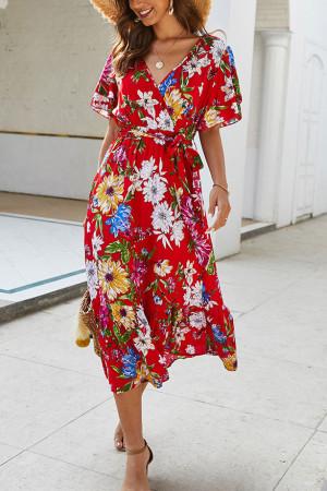 V-Neck Floral Boho Dress